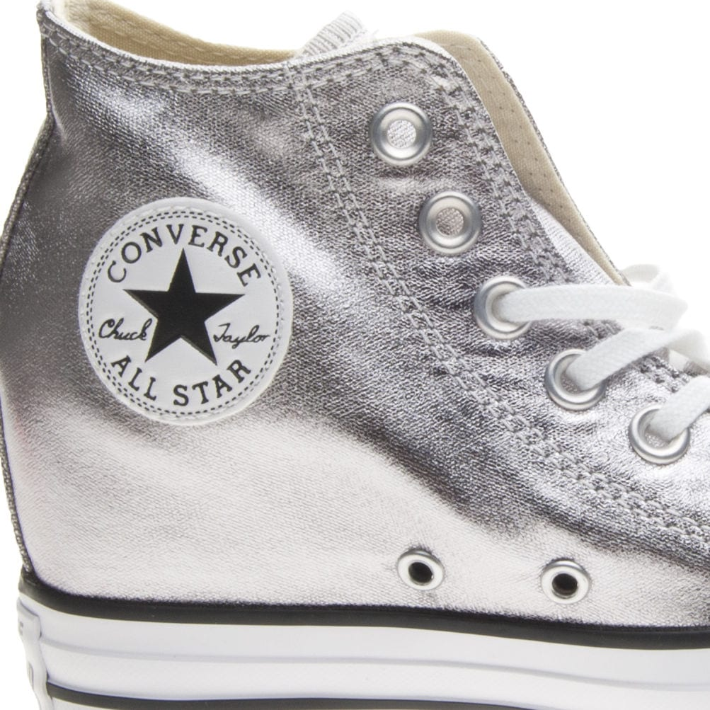 Converse : Chuck Taylor All Star lux mid metallic text – Gunmetal ...